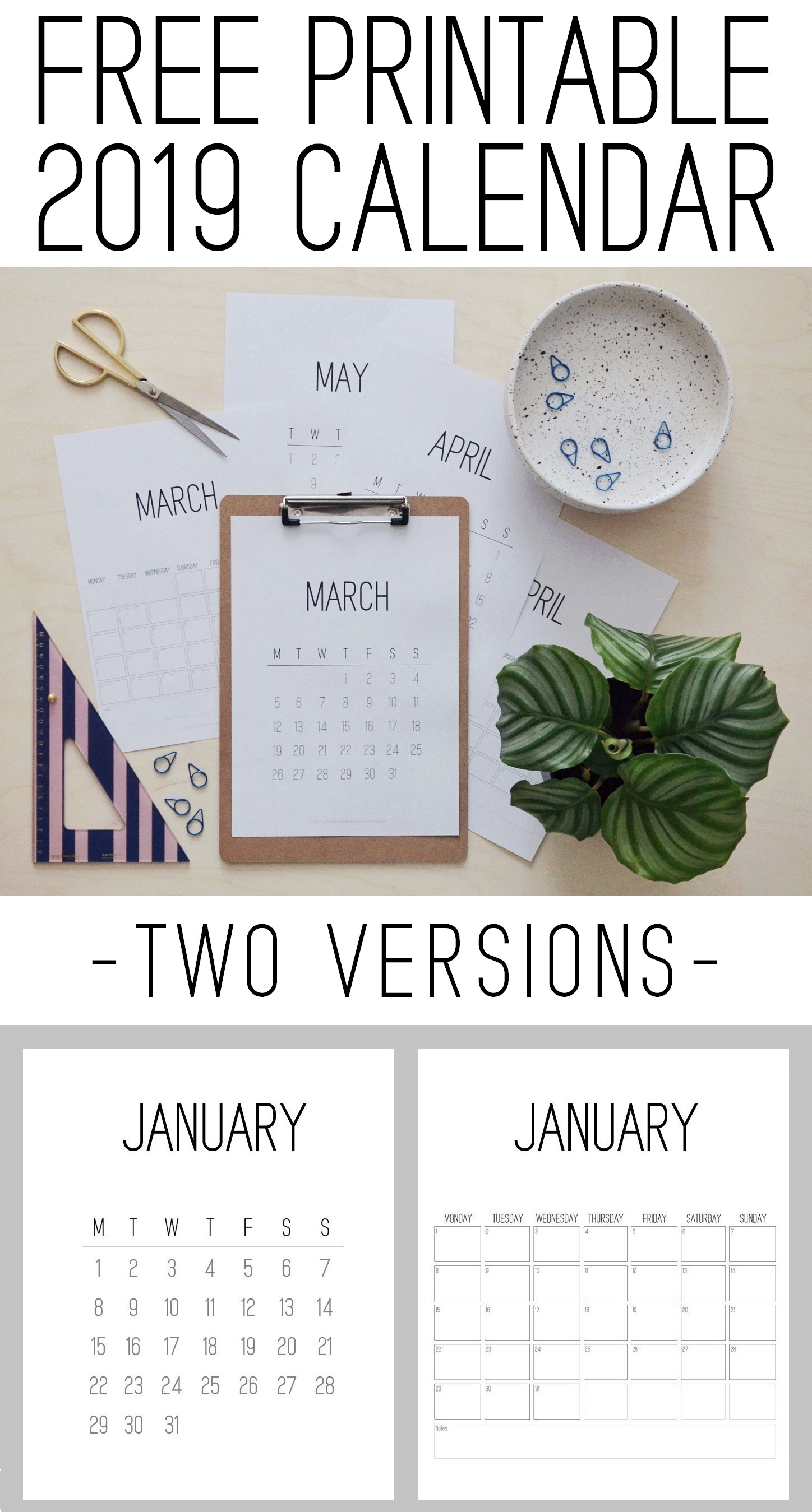 Free printable calendar for 2019 | Kreavilla